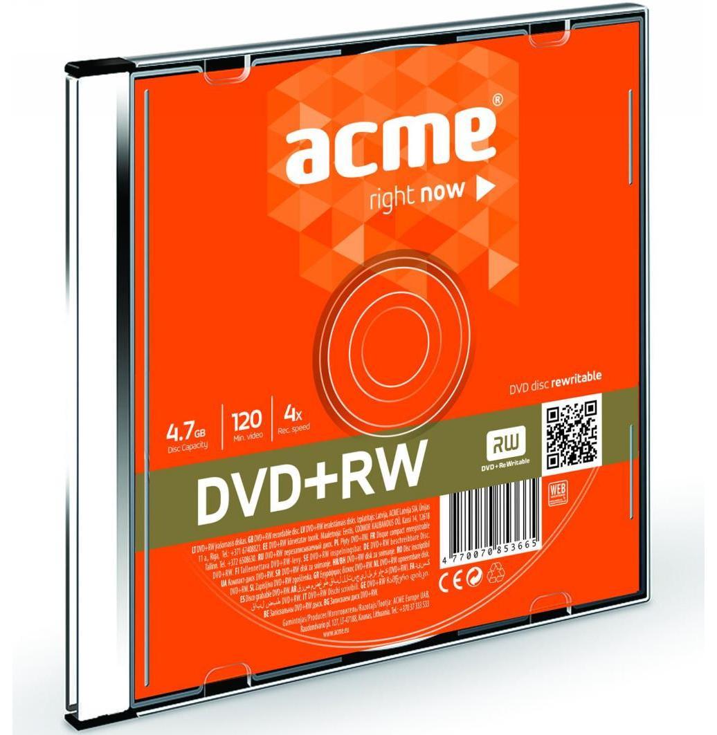 Компакт-диск DVD+RW 4.7Гб slim Acme