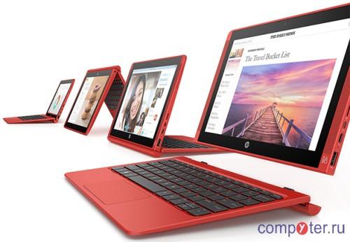 Ноутбук-трансформер HP 10.1″ Pavilion Detach x2 10-n202nf Atom Z3736F 1.33GHz QC 2Gb 32Gb Win10 красный