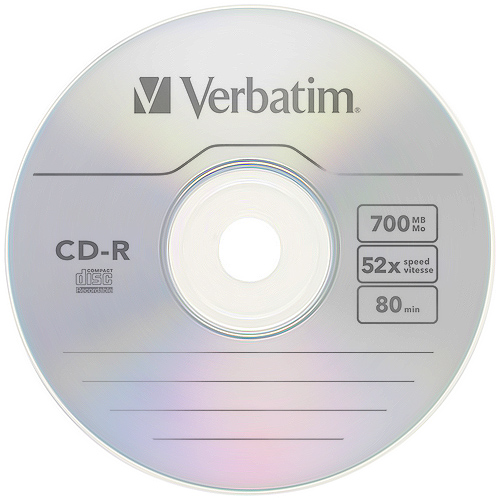 Компакт-диск CD-R 700Mb cake Verbatim 1шт.